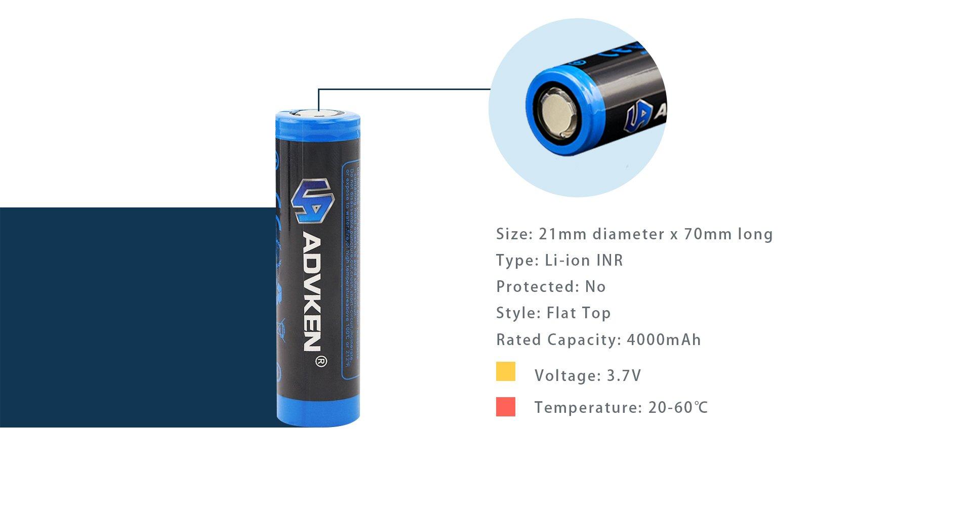 Advken 21700 Battery parameter