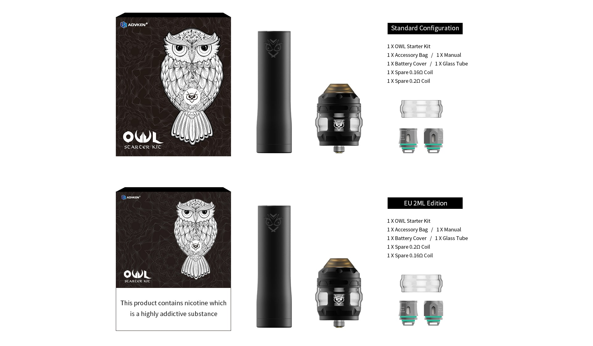 Advken Owl Starter Kit Includes